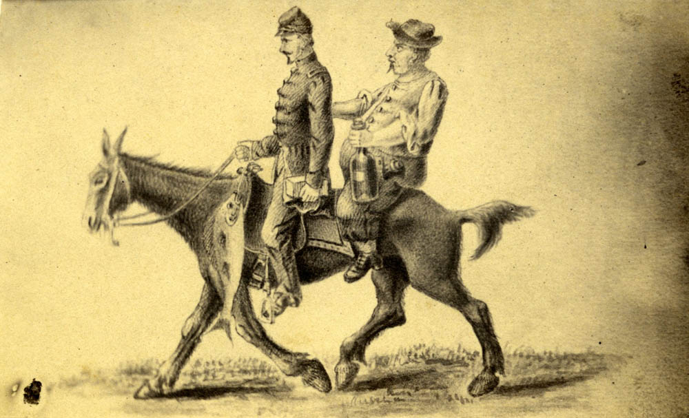 Cartoon of two foraging Union soldiers on a mule.
