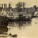 Photograph of steamboats at the landing in DeVall's Bluff, Arkansas.